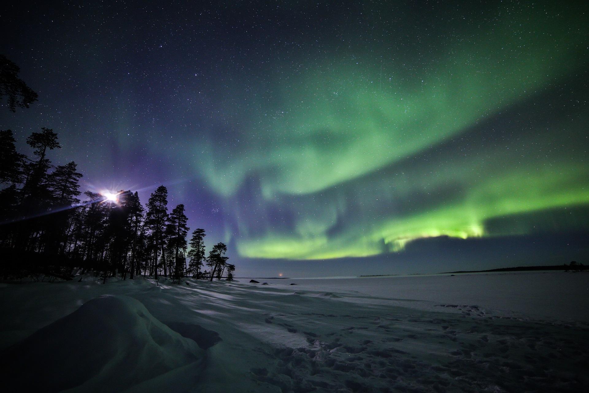 Polarnacht über dem Inarisee