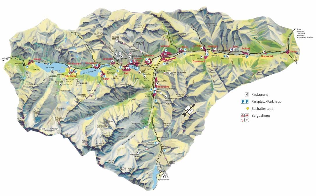 engadin karte Engadin Durchquerung: Strecke / Sandozconcept   Winterreisen weltweit